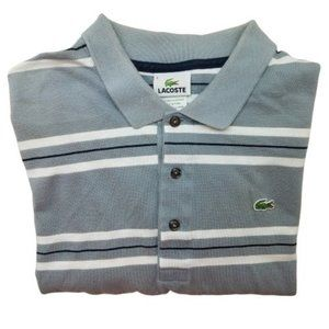 Lacoste Gray Stripe Polo Shirt 6 or Large 5191L